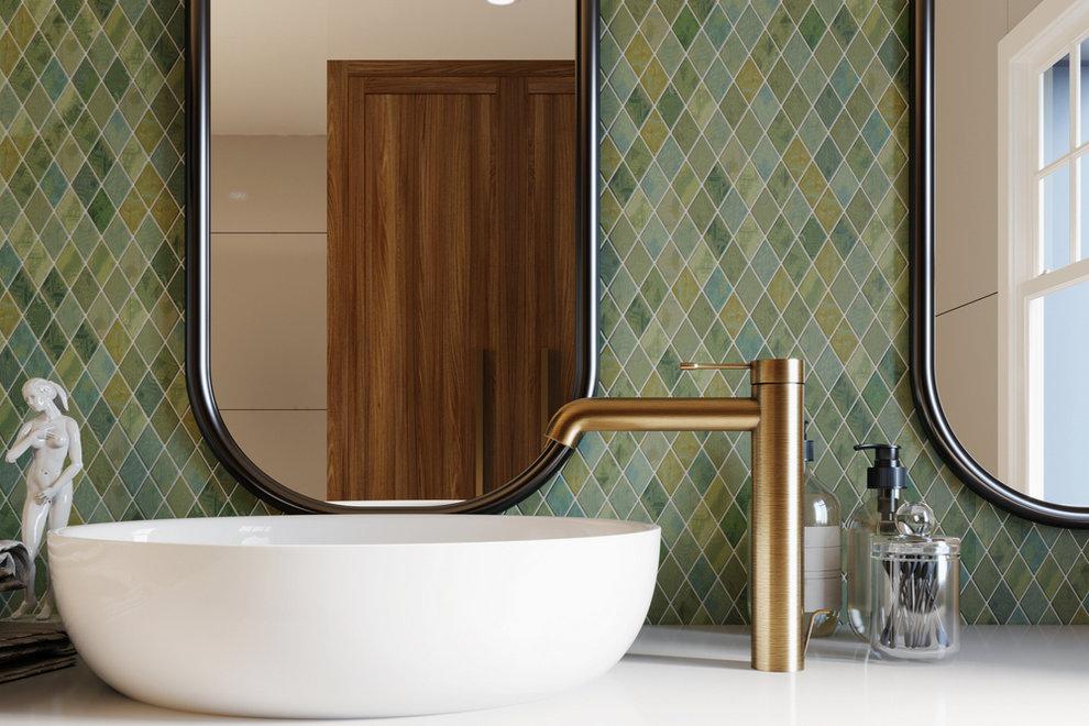 Bathroom with geometric tiles