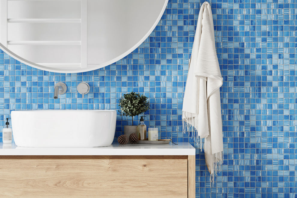 Bathroom with textured tiles